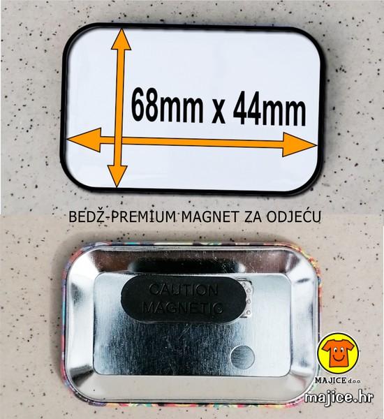bedž pravokutni premium magnet za odjeću 68x44mm izrada po narudžbi